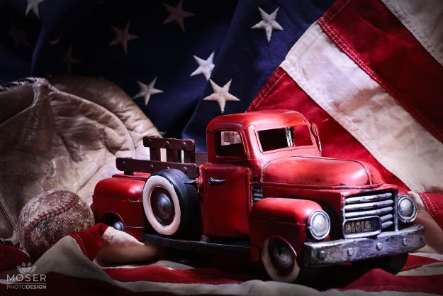 Alexis-Moser-table-top-light-painting-American-flag-truck-baseball