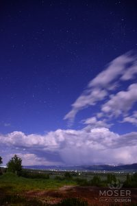 Moving clouds and bright stars