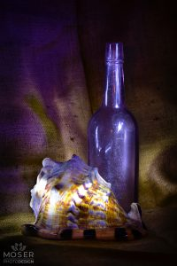 Alexis-Moser-table-top-light-painting-beach-shell-bottle